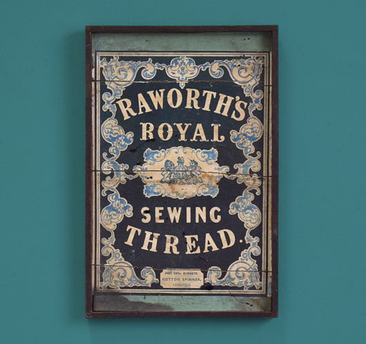 Sewing thread in-store advertising sign, c. 1900