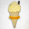 Early-1900s wooden ice cream cone sign