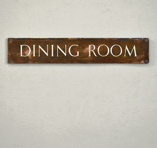 Antique enamel and brass sign: Dining Room