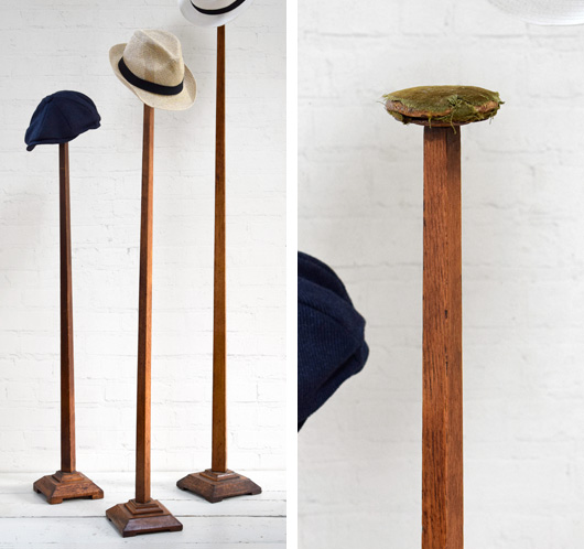 Antique 1920s tall oak hat stand, 137cm