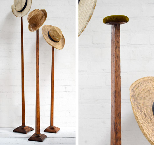 Antique 1920s tall oak hat stand, 159cm
