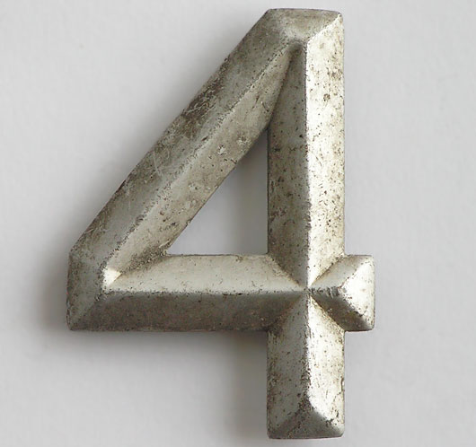 Early automobile number plate metal number '4'
