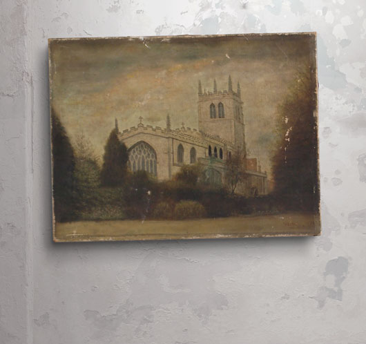 Antique gothic church oil on canvas painting, c. 1905