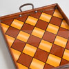 1940s harlequin pattern glass-top wooden carry tray