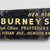 1930s bicycle advertising sign: Burney's Fruiterers, Hendon