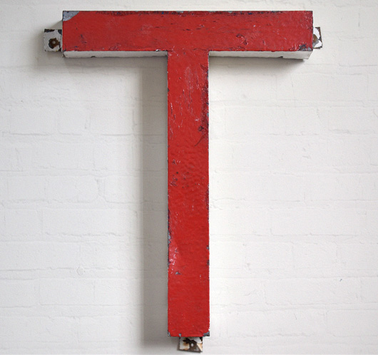 Extra-large vintage painted metal letter 'T', mid-1900s