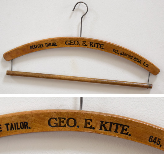 Vintage advertising coat hanger: George Kite, Tailor, 645 Barking Road, E13