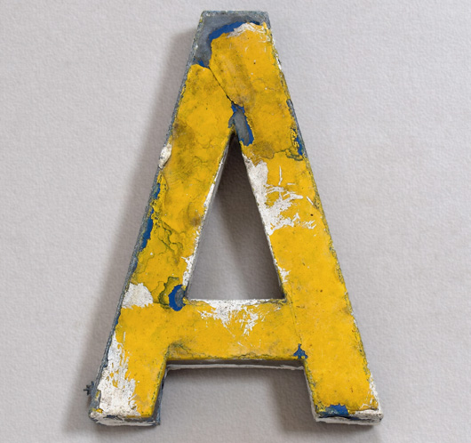 Antique French painted zinc shop sign letter 'A', c. 1900