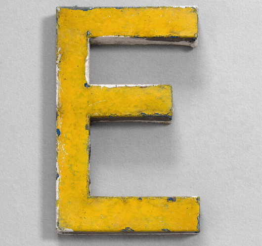 Vintage French painted zinc shop sign letter 'E', c.1900