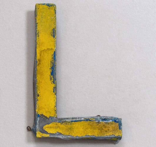 Vintage French painted zinc shop sign letter 'L', c.1900