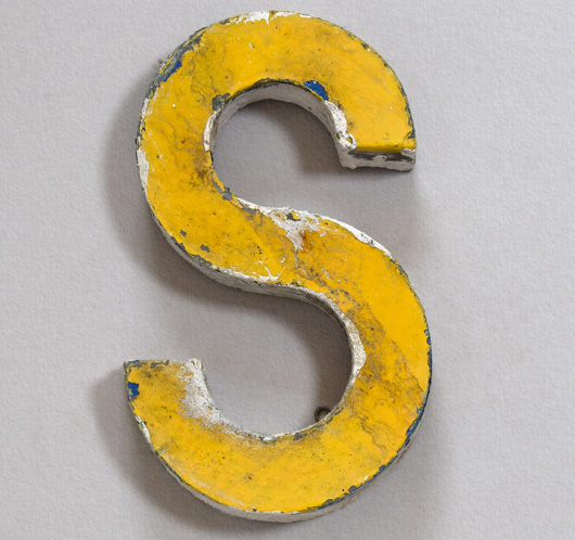 Vintage French painted zinc sign letter 'S', c. 1900