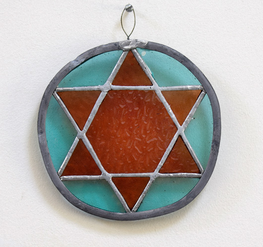 Vintage stained glass star medallion