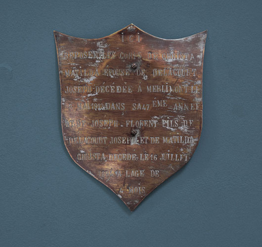 Antique French typographic brass shield