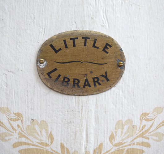 Mid-Victorian antique reading room sign: Little Library