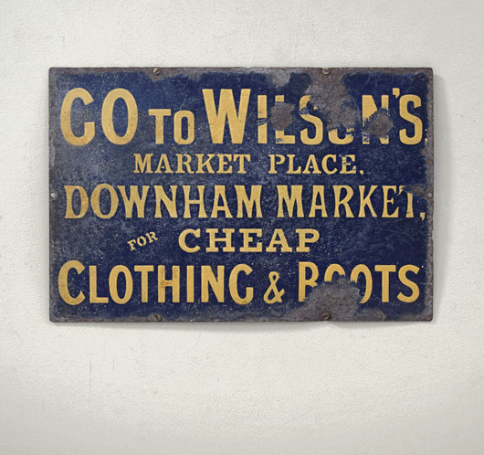 Victorian outfitter enamel advertising sign