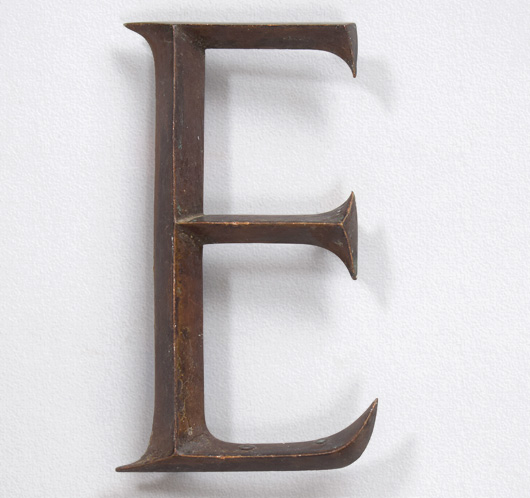 Antique brass sign letter 'E', c. 1900