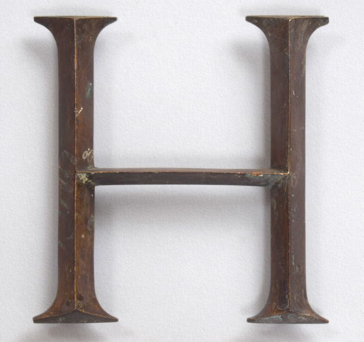 Antique brass sign letter 'H', c. 1900