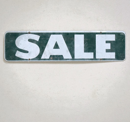 Early-1900s vintage double-sided tin sign: Sale