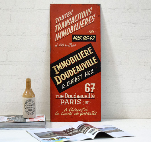 1950s vintage hand-painted Parisian real estate sign