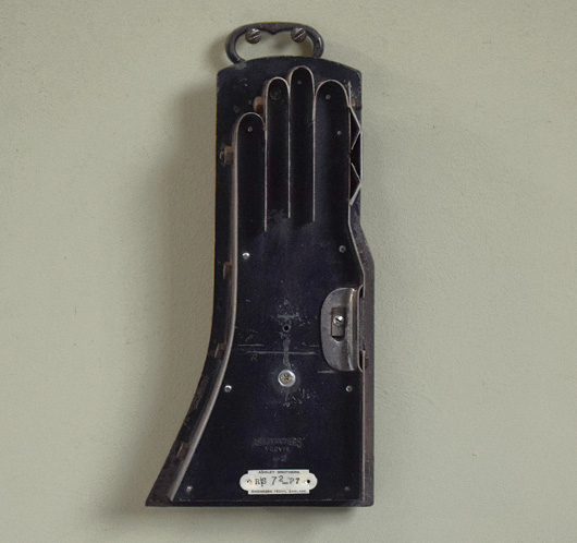 Vintage industrial iron glove cutter