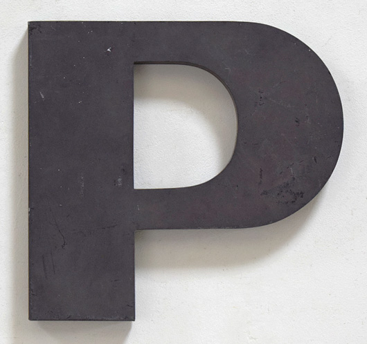 Large vintage mid-century metal sign letter 'P'