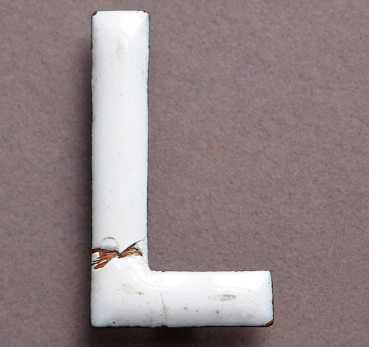 Vintage white enamel and brass sign letter 'L' (5cm), c.1900