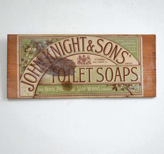 Antique wooden advertising panel: Knight Toilet Soaps