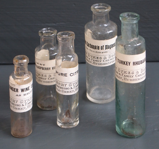 Set of 5 Victorian chemist's bottles with labels (1 of 2)