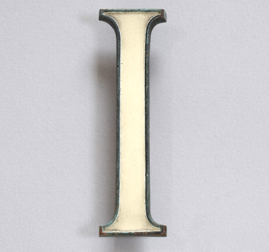 Enamel inlay vintage brass sign letter 'I' or 'one', c. 1910