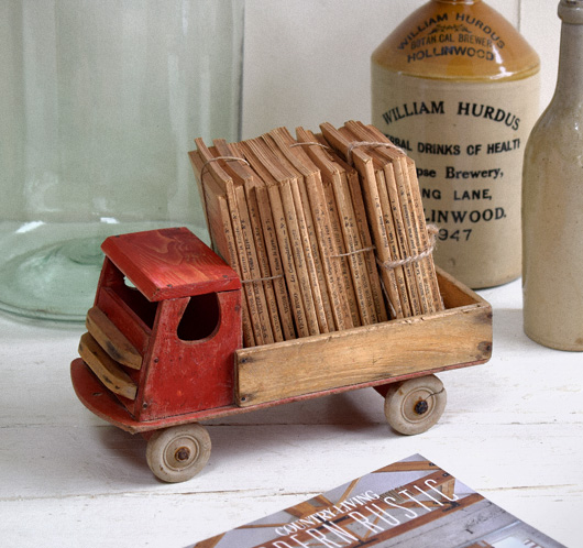 1930s vintage wooden toy lorry with tray