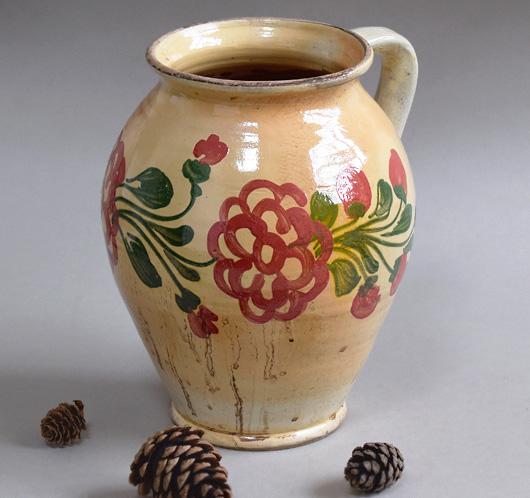 Early-1900s Hungarian floral pottery jug