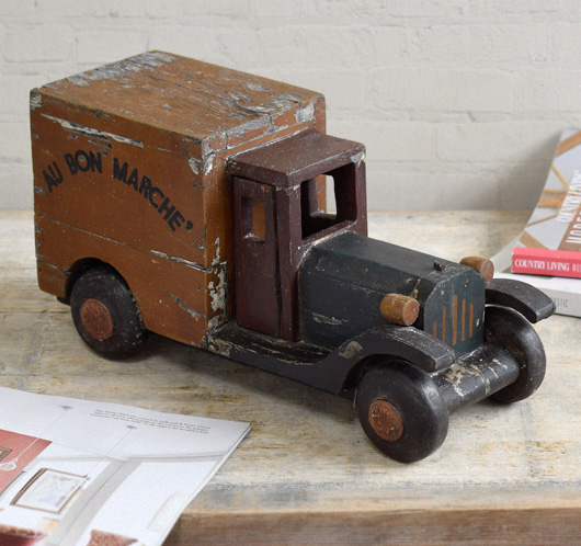 Antique French Bon Marché wooden toy lorry, early-1900s