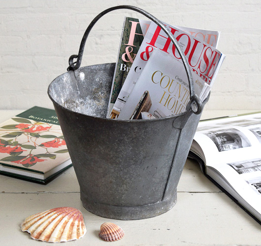 Small galvanised antique zinc bucket, early 1900s