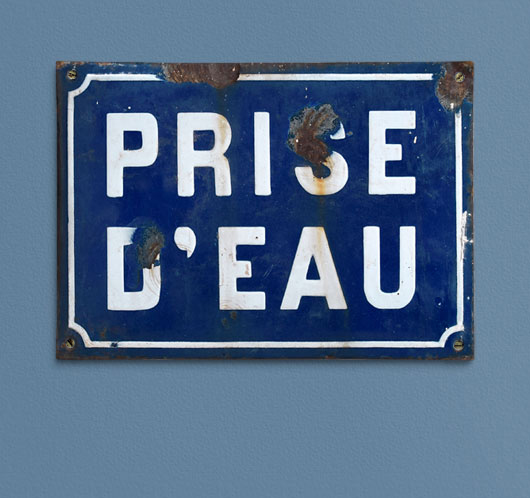 19th-century antique French enamel water source sign: Prise d'Eau