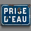 19th-century French enamel water source sign