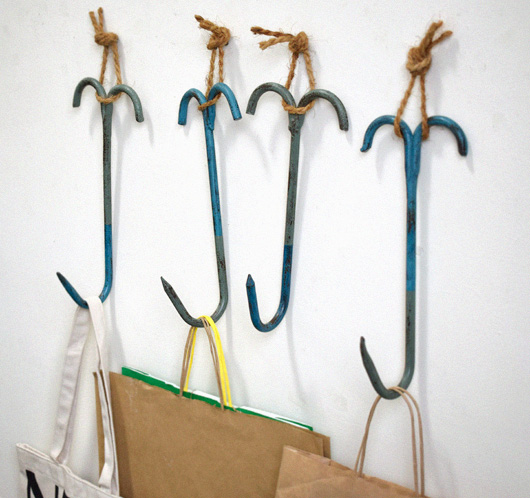 Large painted butcher's hooks, early 1900s