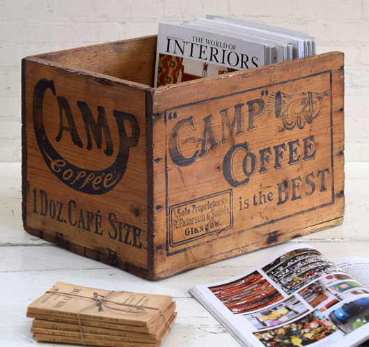 Early-1900s vintage wooden crate: Camp Coffee