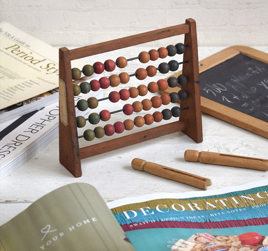 1930s vintage French wooden abacus
