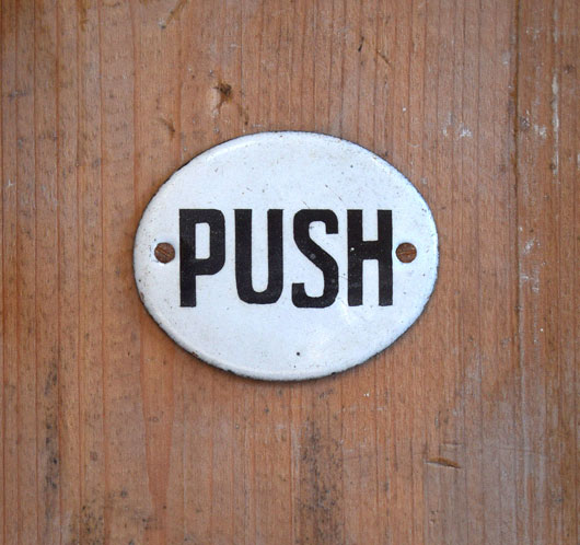 Round antique enamel door sign: Push