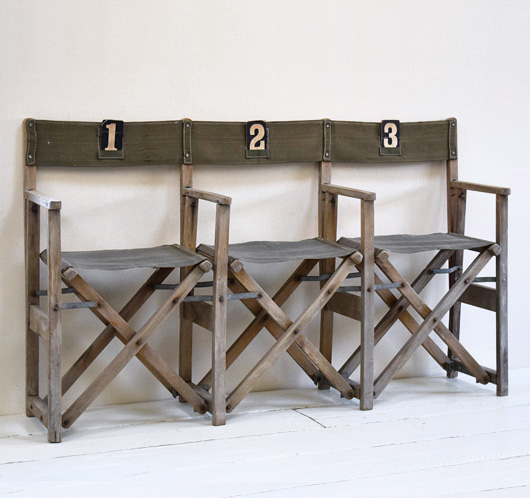 Row of 3 vintage folding campaign chairs, mid-1900s