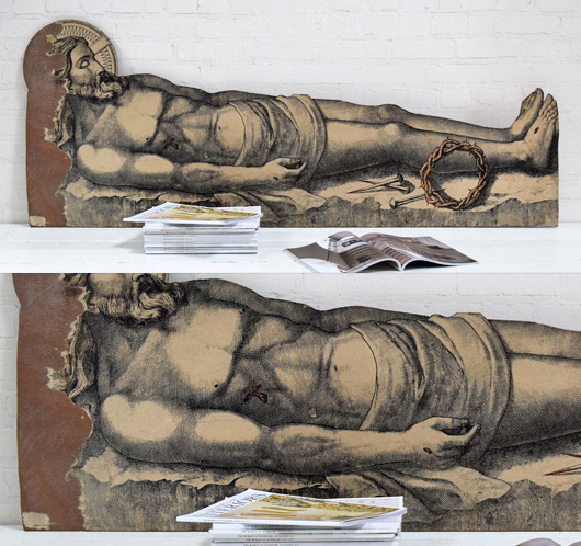 Large vintage wooden cutout of Jesus recumbent