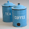Blue enamel storage jar: Coffee, c. 1910