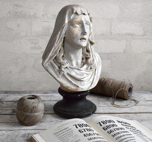Antique painted plaster bust of the weeping Madonna