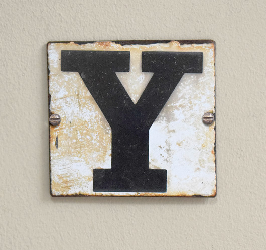 Victorian antique enamel sign letter plaque: Y