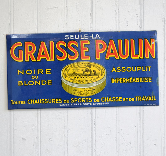 Antique French tin shoe wax sign