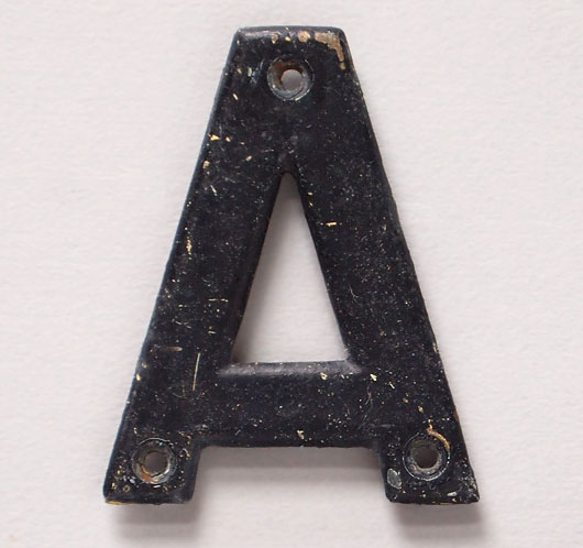 Small vintage painted brass sign letter 'A', early 1900s