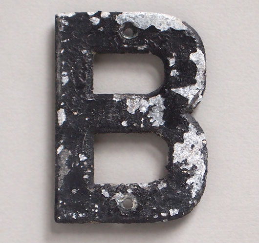 Small vintage cast-metal sign letter 'B', early 1900s