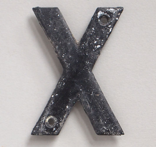 Small cast-metal vintage sign letter 'X', early 1900s