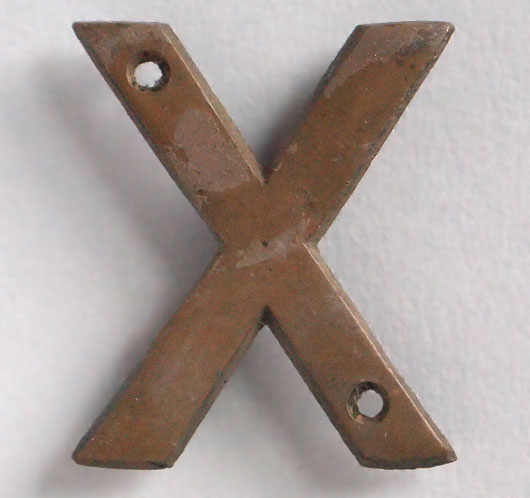 Small vintage cast-bronze sign letter 'X', early 1900s