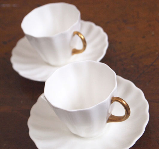 Royal Doulton Edwardian fluted white demitasse and saucer, c. 1910